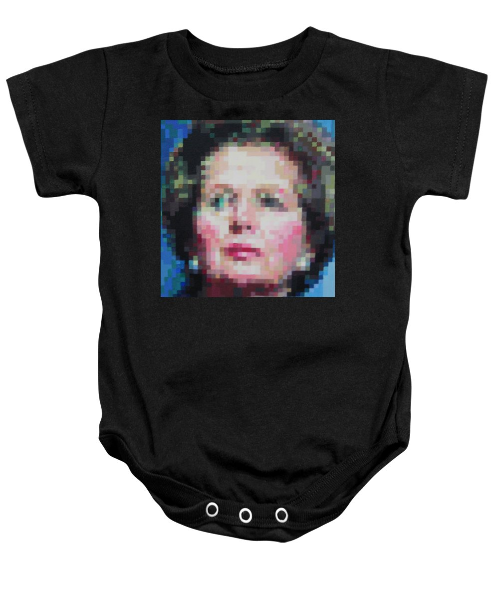Margaret Thatcher Baby Onesie featuring the painting Maggie by Gary Hogben