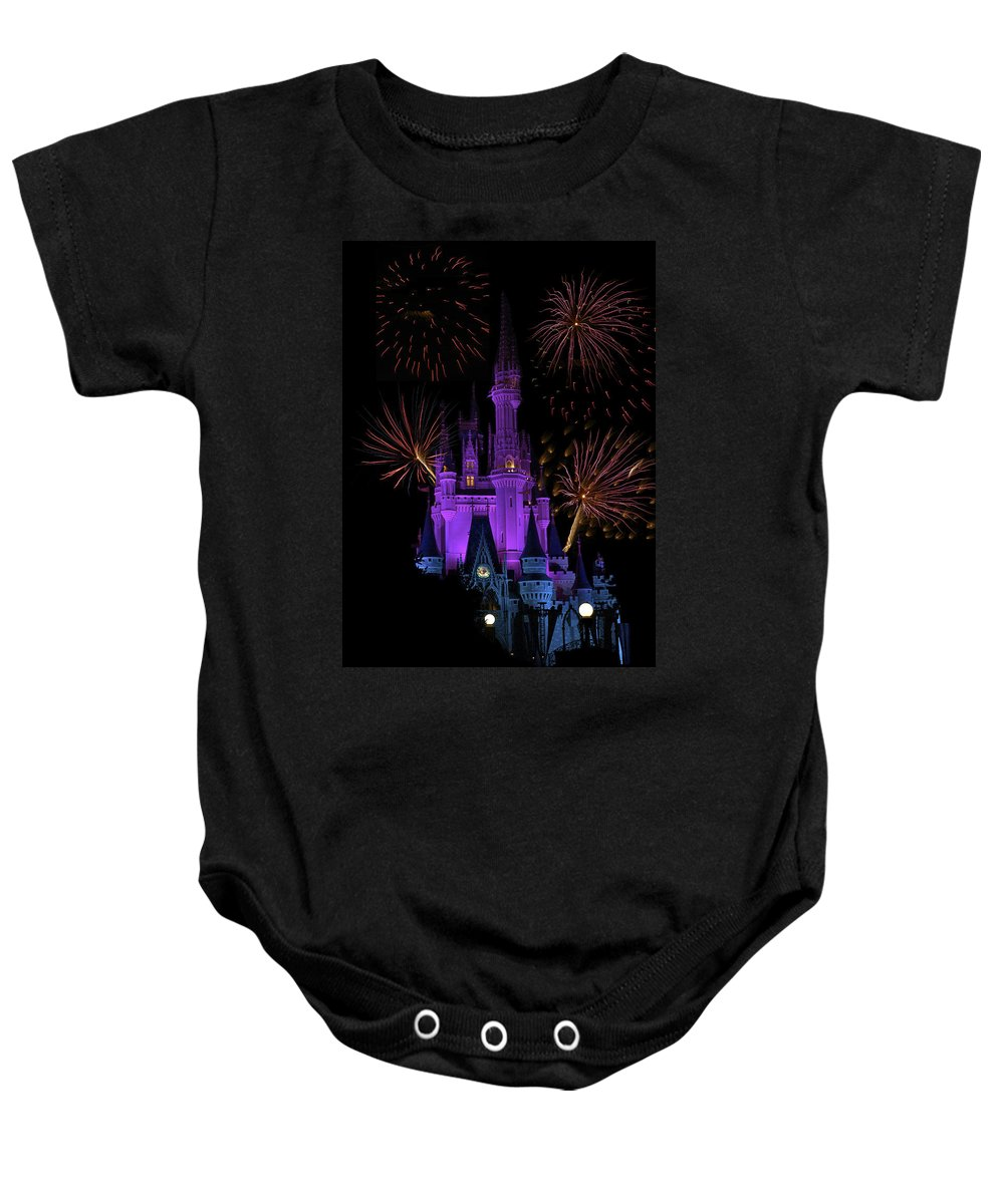 Castle Baby Onesie featuring the photograph Magic Kingdom Castle In Purple With Fireworks 03 by Thomas Woolworth