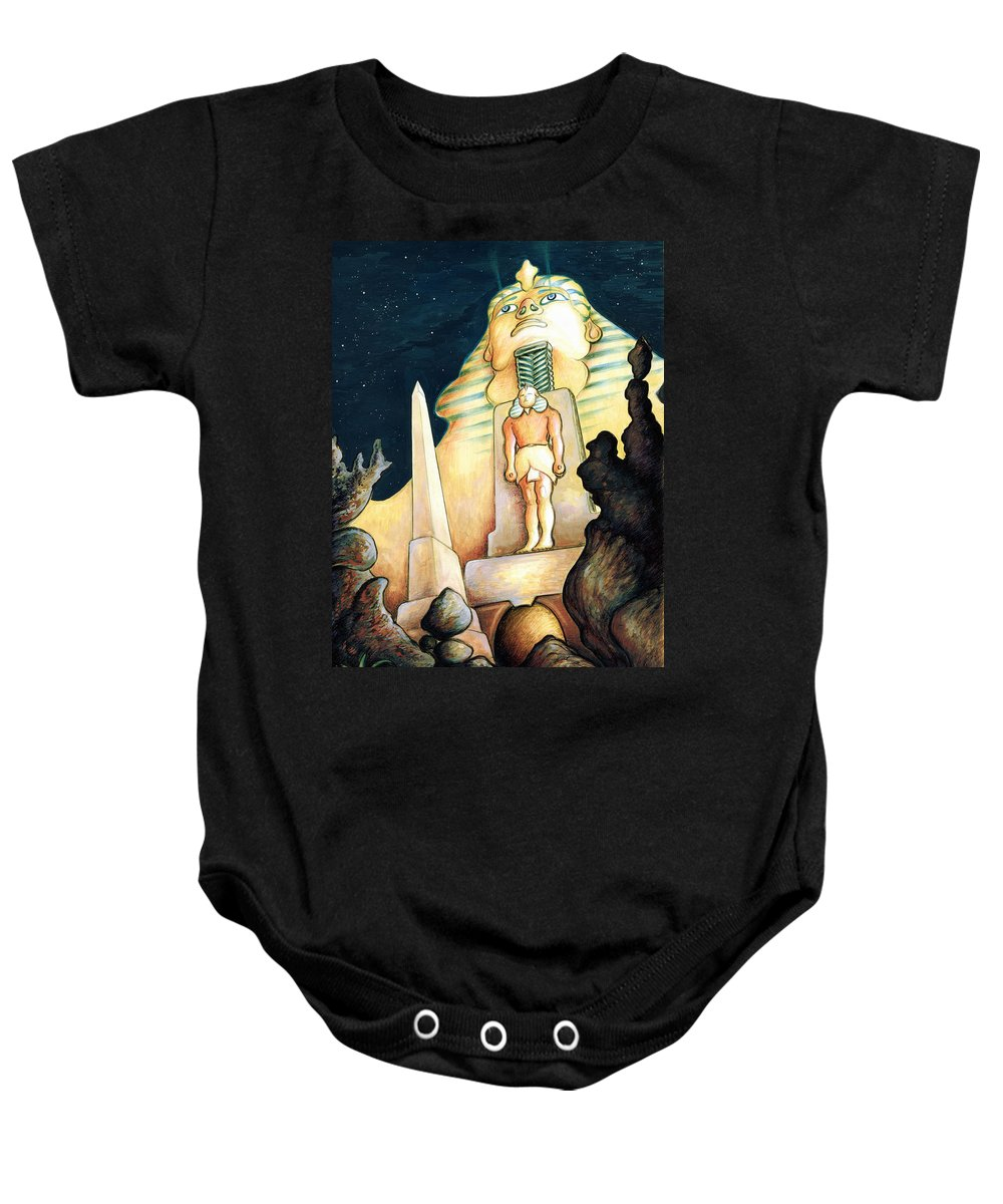 Sphinx Baby Onesie featuring the painting Magic Vegas Sphinx - Fantasy Art by Peter Potter