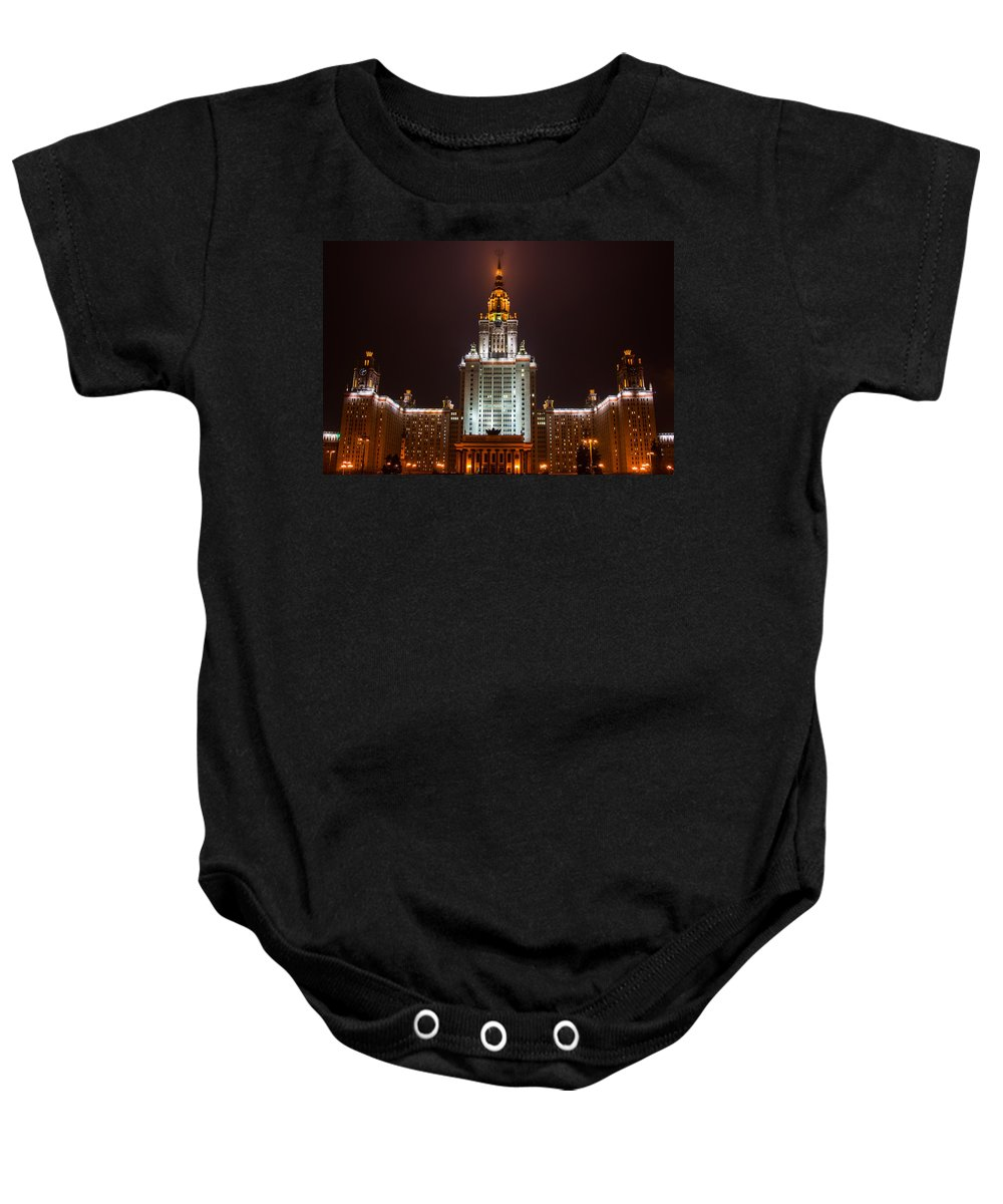 Air Baby Onesie featuring the photograph Main Building Of Moscow State University At Winter Evening - 2 Featured 3 by Alexander Senin