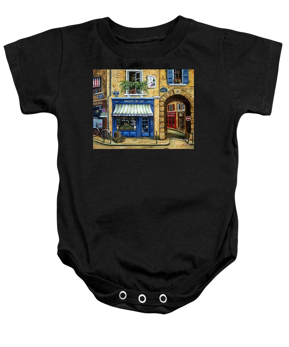 Wine Baby Onesie featuring the painting Maison De Vin by Marilyn Dunlap