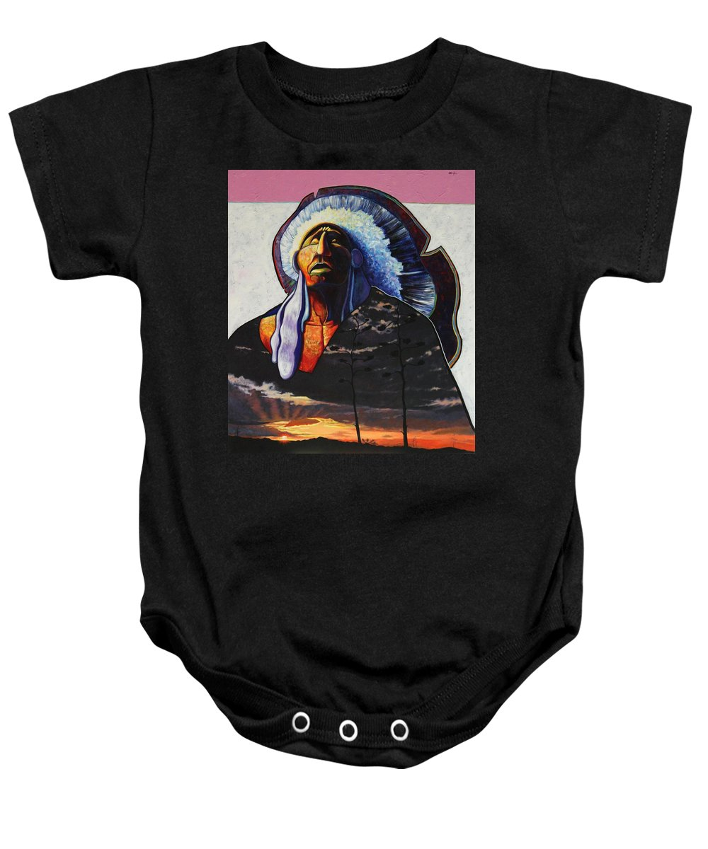 Native American Baby Onesie featuring the painting Make Me Worthy by Joe Triano