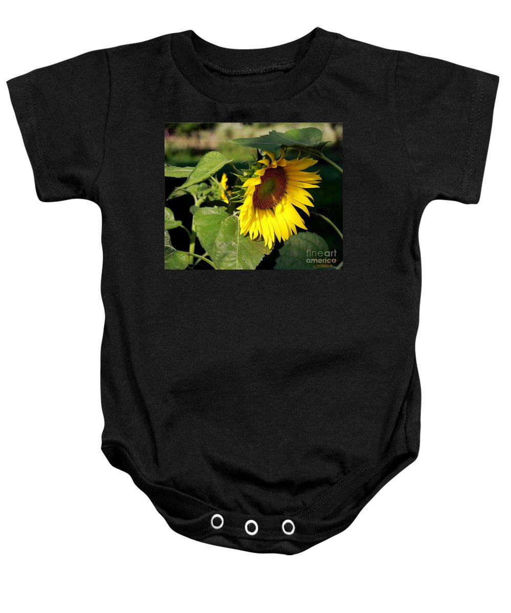 Sunflower Baby Onesie featuring the photograph Makin My Own Shade by Rebecca Morgan