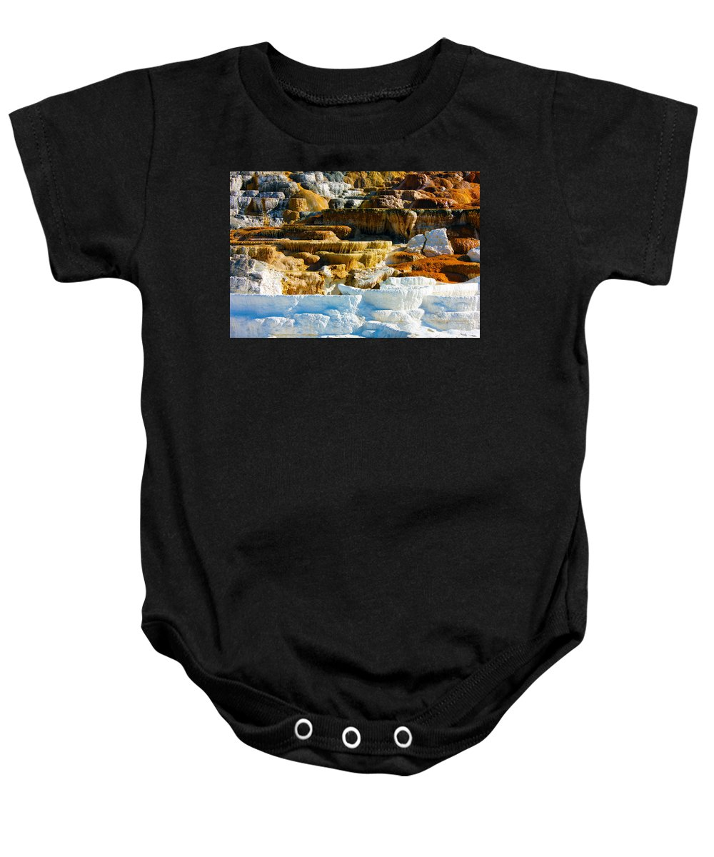 Mammoth Hot Springs Baby Onesie featuring the photograph Mammoth Hot Springs Rock Formation No1 by Josh Bryant