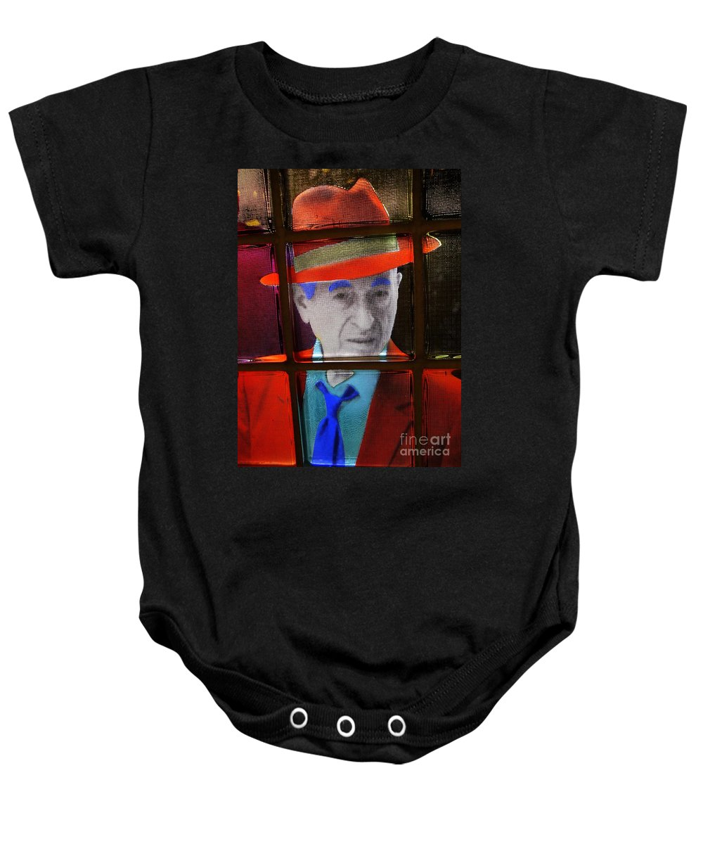 Man Baby Onesie featuring the photograph Man In Red Fedora by Ed Weidman