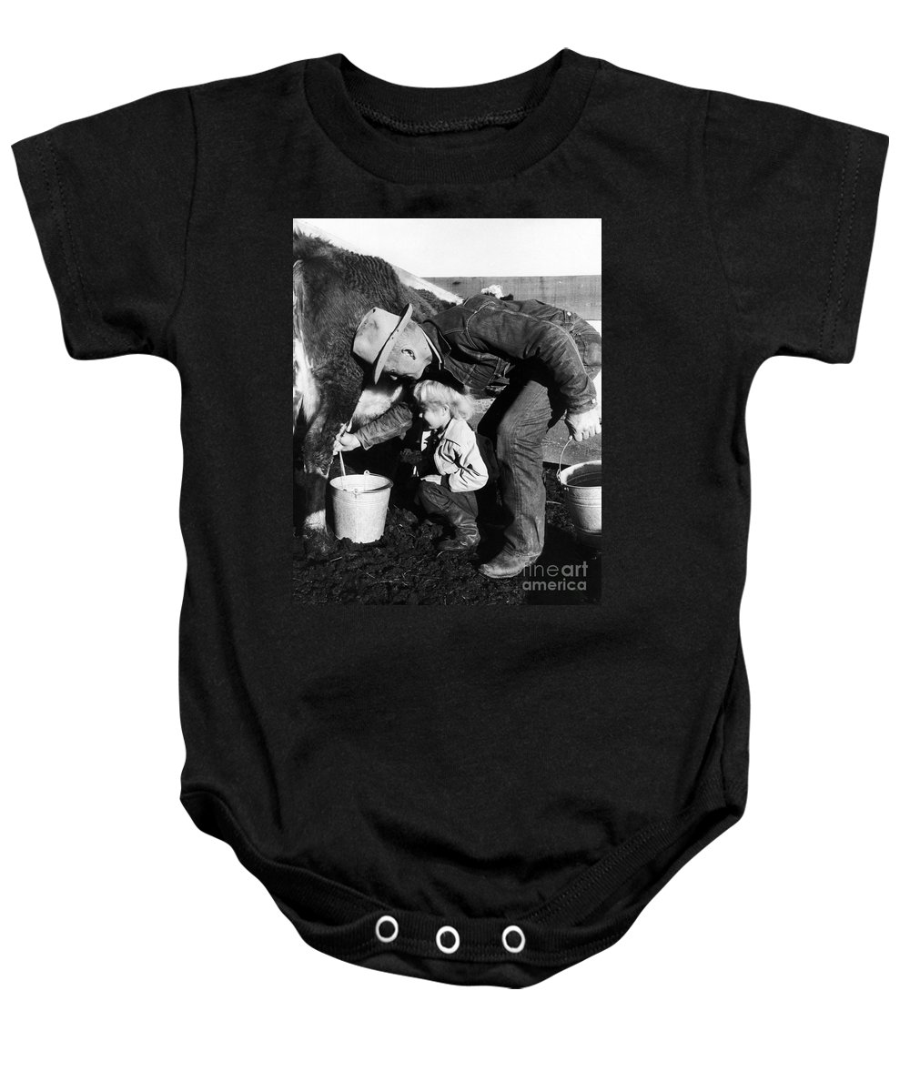 Farmer Baby Onesie featuring the photograph Man Milking Cow by C Robert Lee