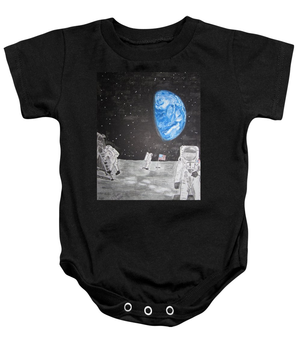 Stars Baby Onesie featuring the painting Man On The Moon by Kathy Marrs Chandler