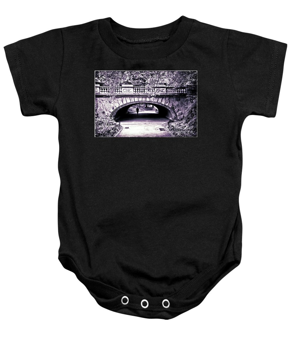 Bridge Baby Onesie featuring the photograph Man Under The Bridge by Madeline Ellis