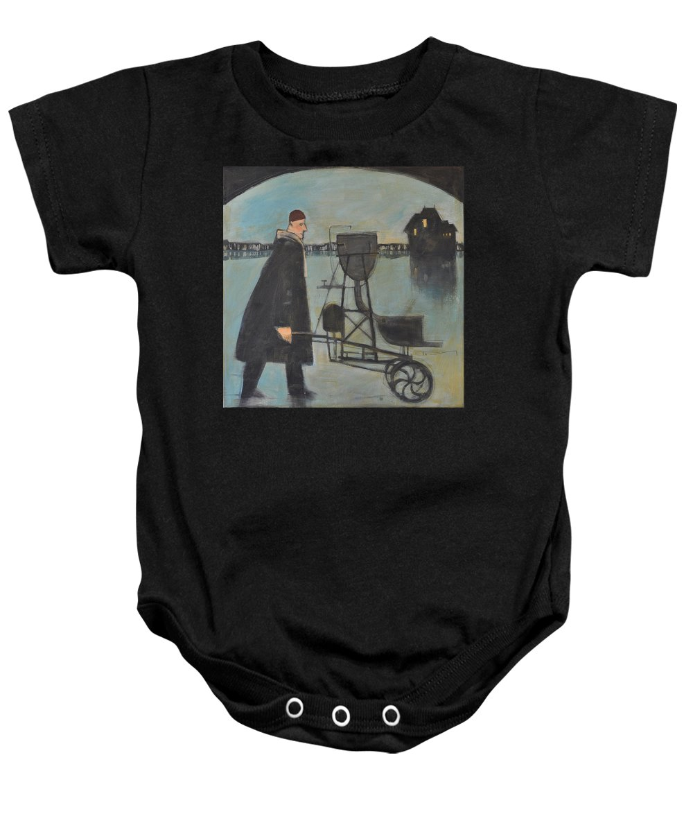 Man Baby Onesie featuring the painting Man Walking Machine On Beach by Tim Nyberg