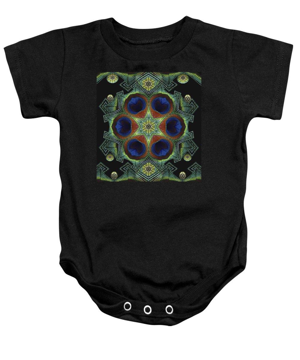 Mandala Baby Onesie featuring the digital art Mandala Peacock by Nancy Griswold