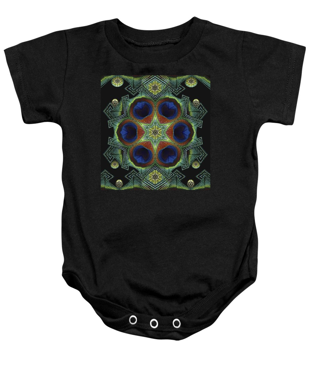 Mandala Baby Onesie featuring the digital art Mandala Peacock by Nancy Griswold