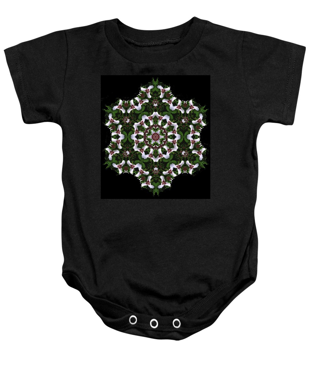 Mandala Baby Onesie featuring the digital art Mandala Trillium Holiday by Nancy Griswold