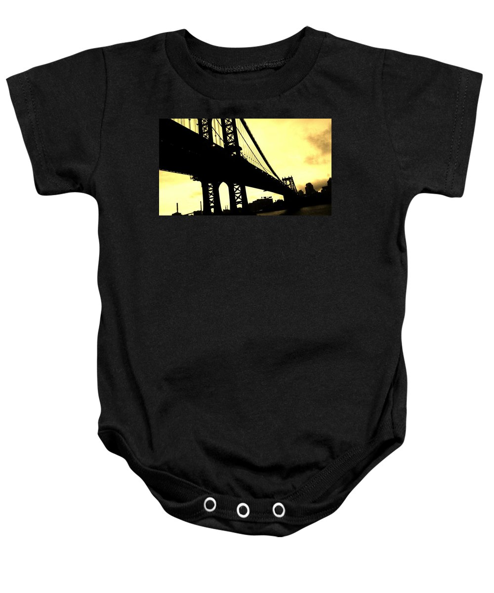 Bridge Baby Onesie featuring the photograph Manhattan Bridge by Paulo Guimaraes