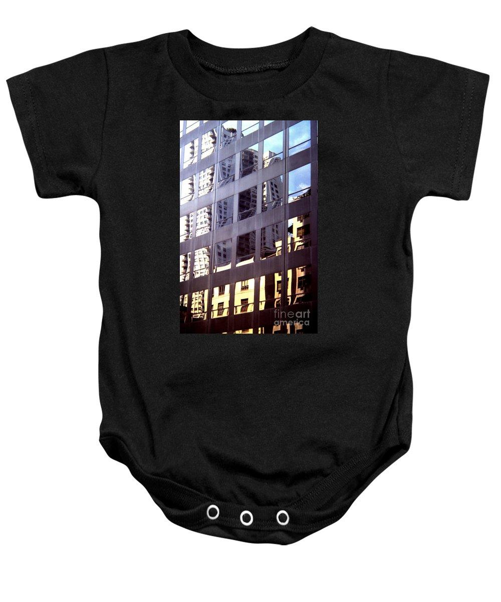 Manhattan Baby Onesie featuring the photograph Manhattan Skyscraper Reflection by John Greco