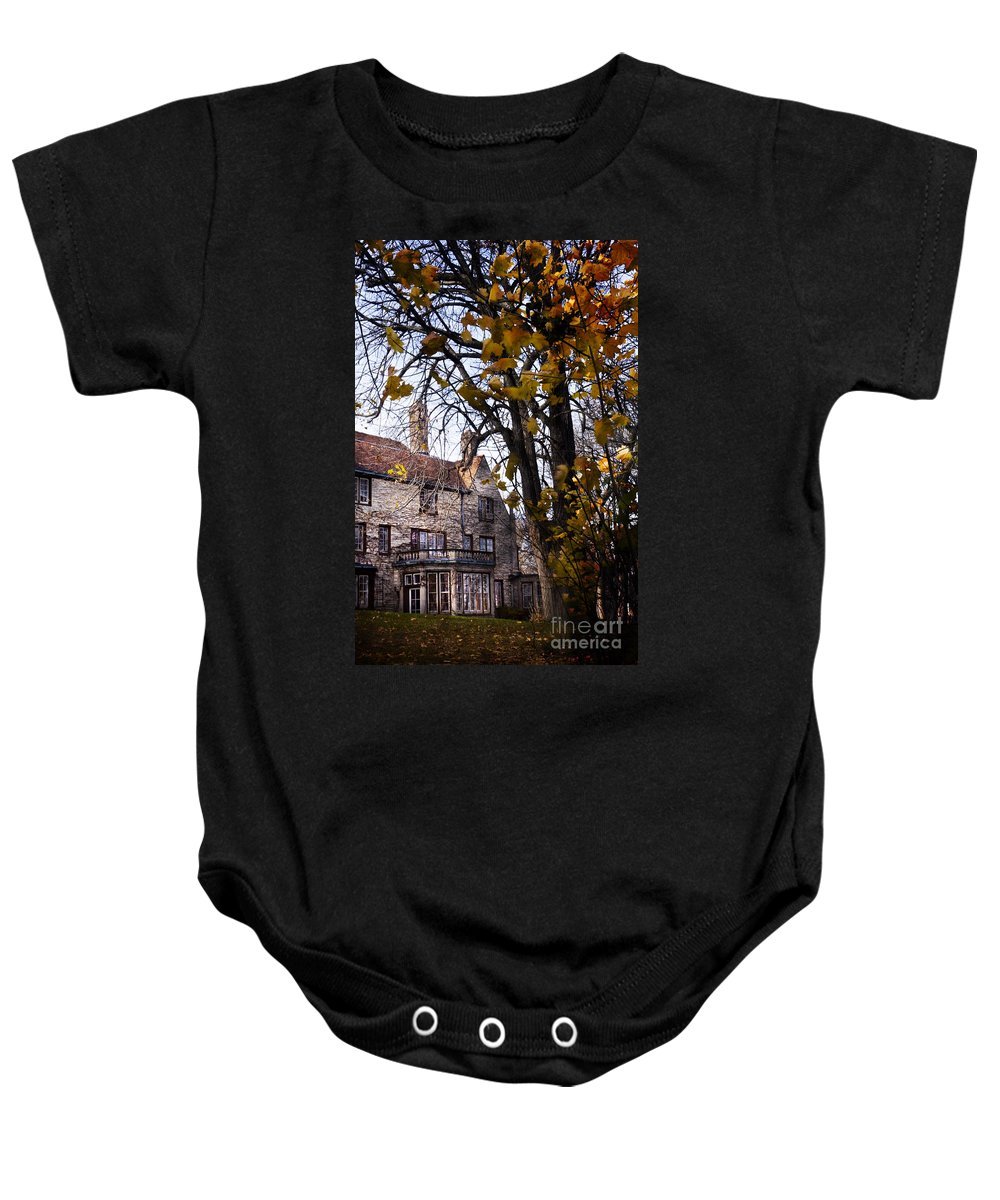 Mansion; Home; House; Outside; Fall; Autumn; Leaves; Dead; Trees; English Tudor; Outside; Outdoors; Large; Stone; Yard; Back; Stately Baby Onesie featuring the photograph Manor by Margie Hurwich