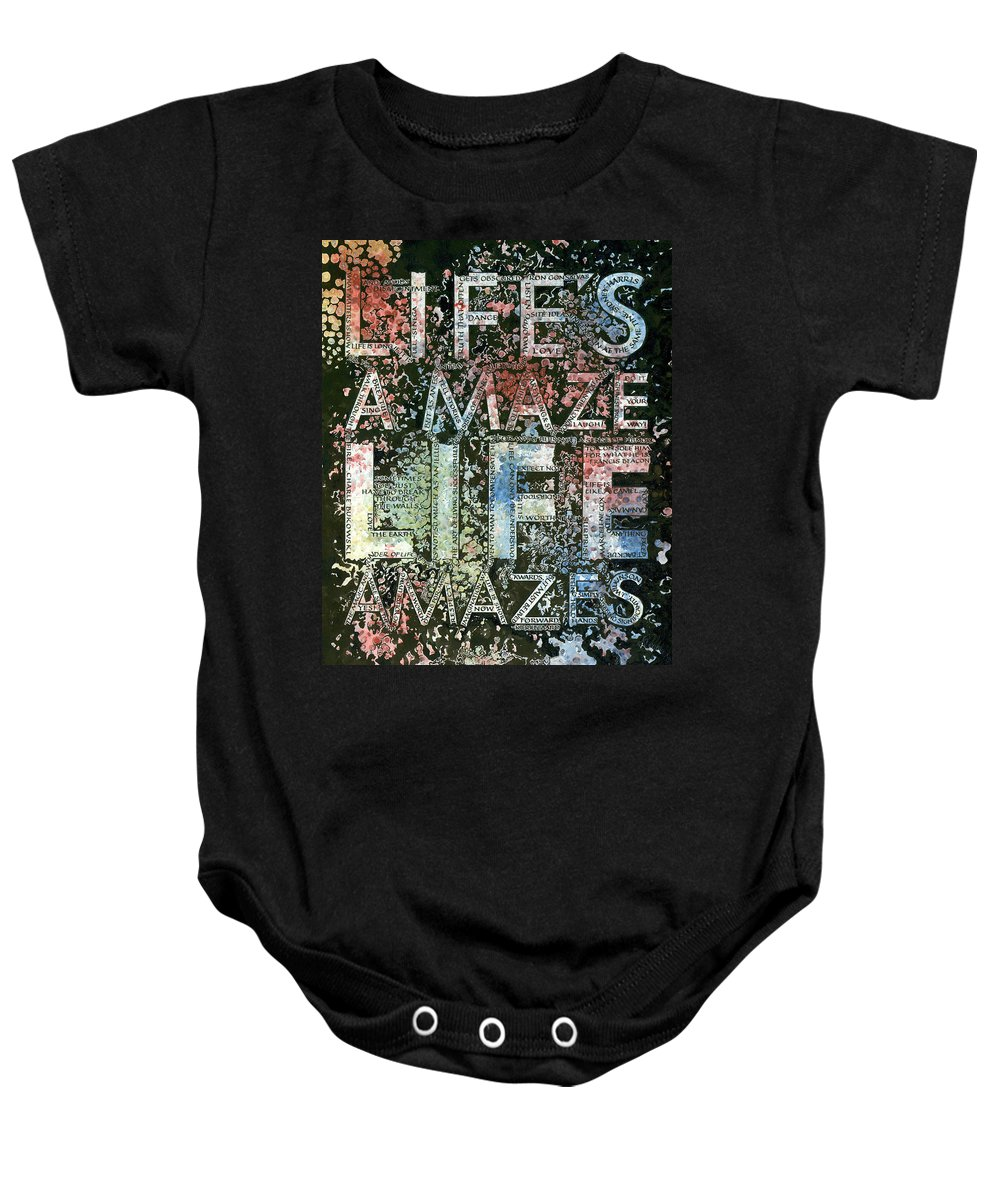 Lettering Art Baby Onesie featuring the painting Map by Sid Freeman