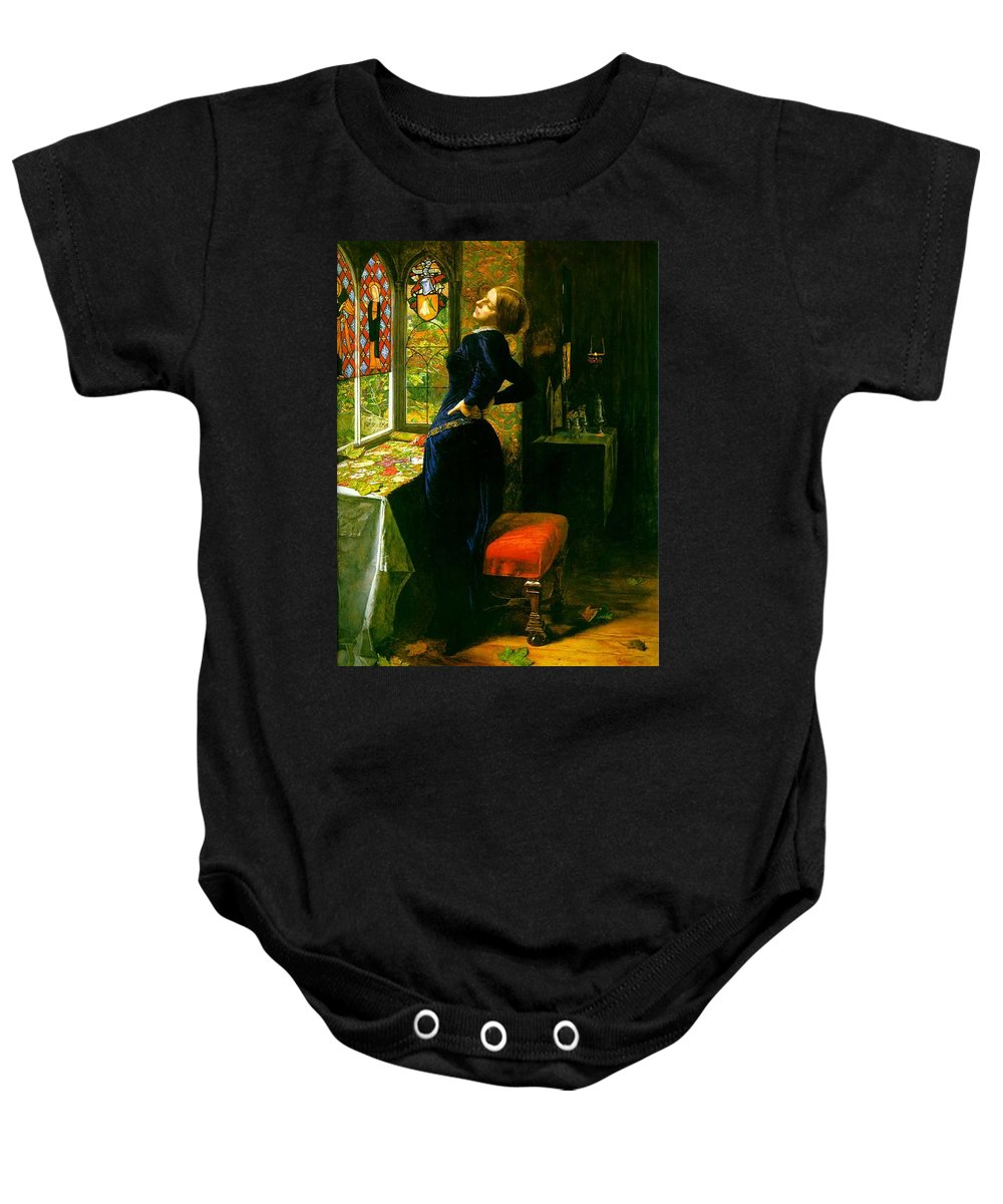 John Baby Onesie featuring the painting Mariana In The Moated Grange 1851 by Philip Ralley