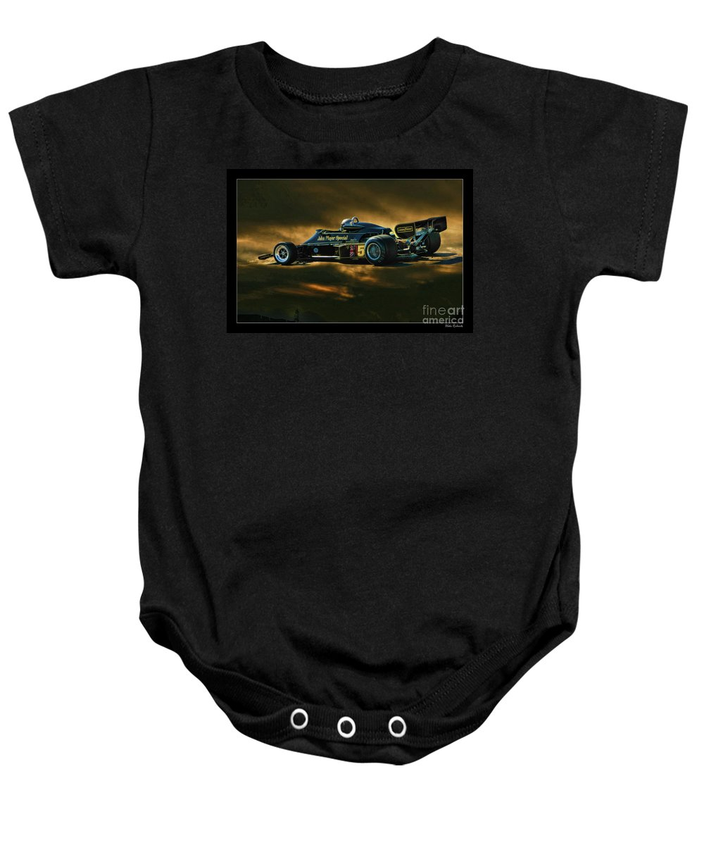 Mario Andretti John Player Special Lotus 79 Baby Onesie featuring the photograph Mario Andretti John Player Special Lotus 79 by Blake Richards