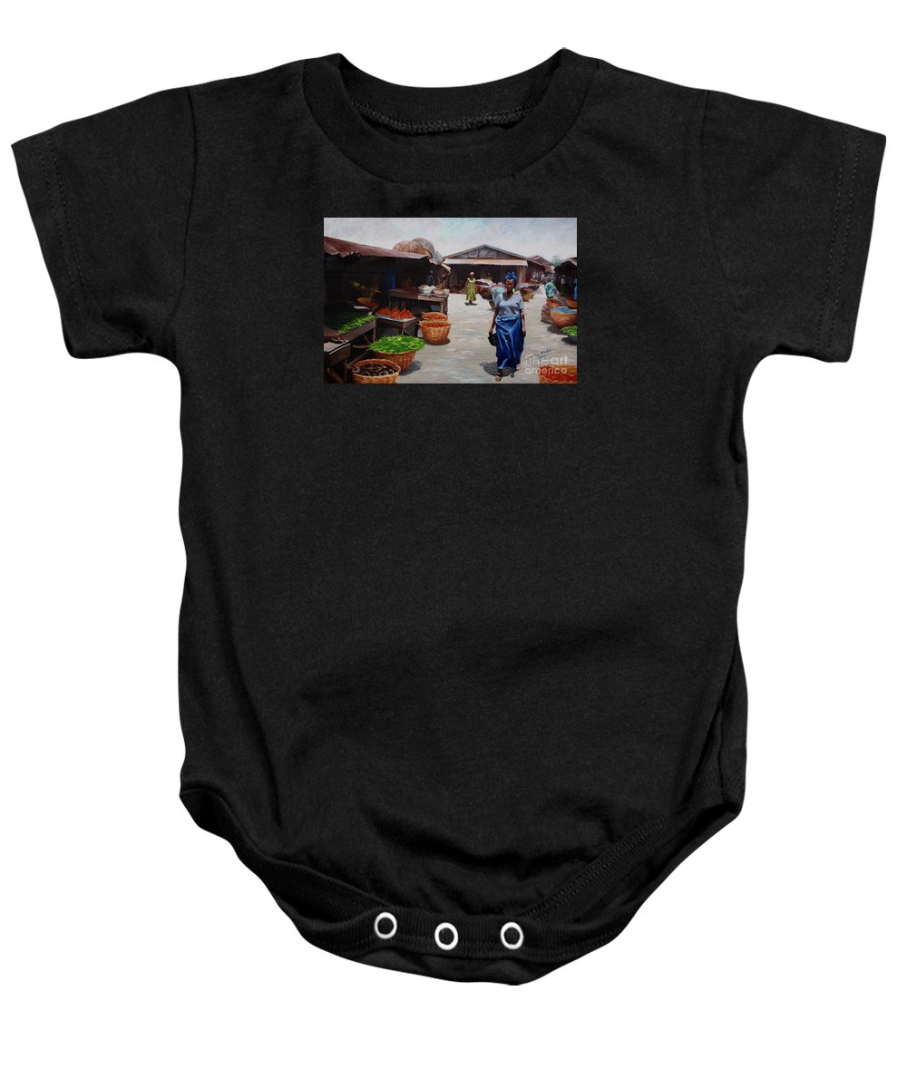 Market Baby Onesie featuring the painting Market Scene by Sony Ejiro Akpotor