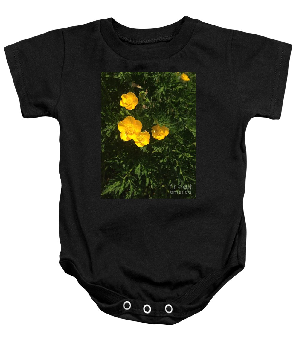 Yellow Blooms Baby Onesie featuring the photograph Martha's Flowers by Joseph Yarbrough