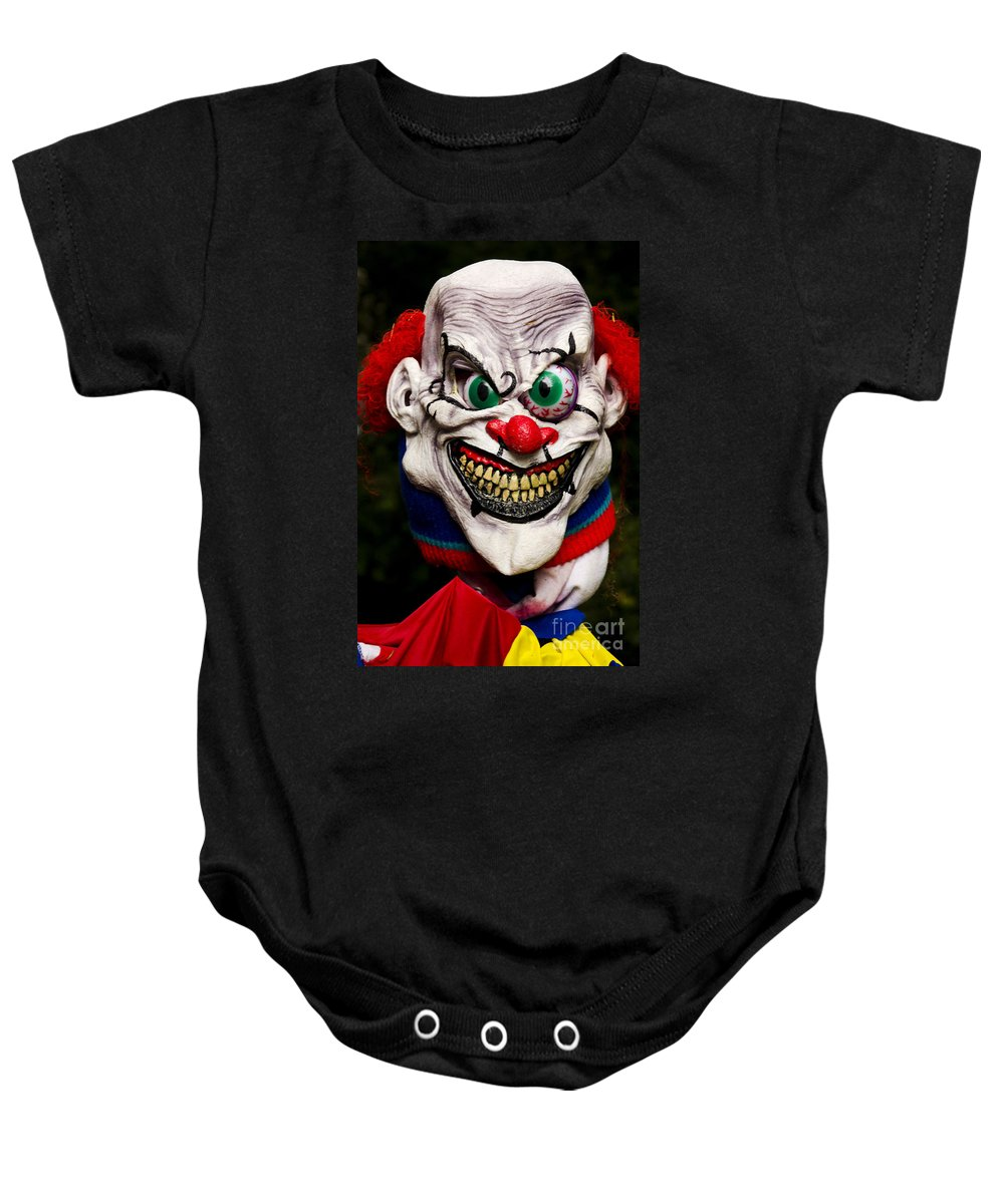 Mask Baby Onesie featuring the photograph Masks Fright Night 1 by Bob Christopher