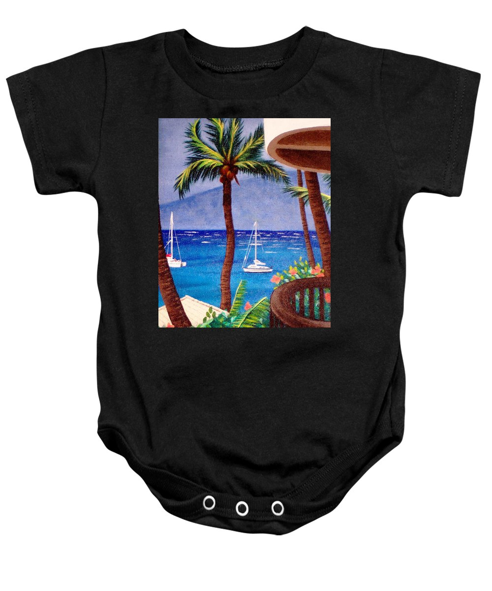 Hawaii Baby Onesie featuring the painting Maui by Liz Boston