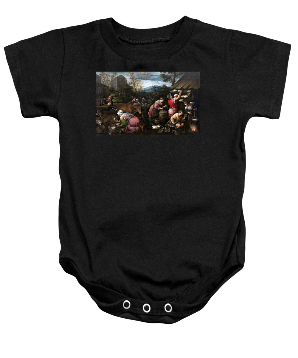 Francesco Bassano Baby Onesie featuring the painting May. Gemini by Francesco Bassano