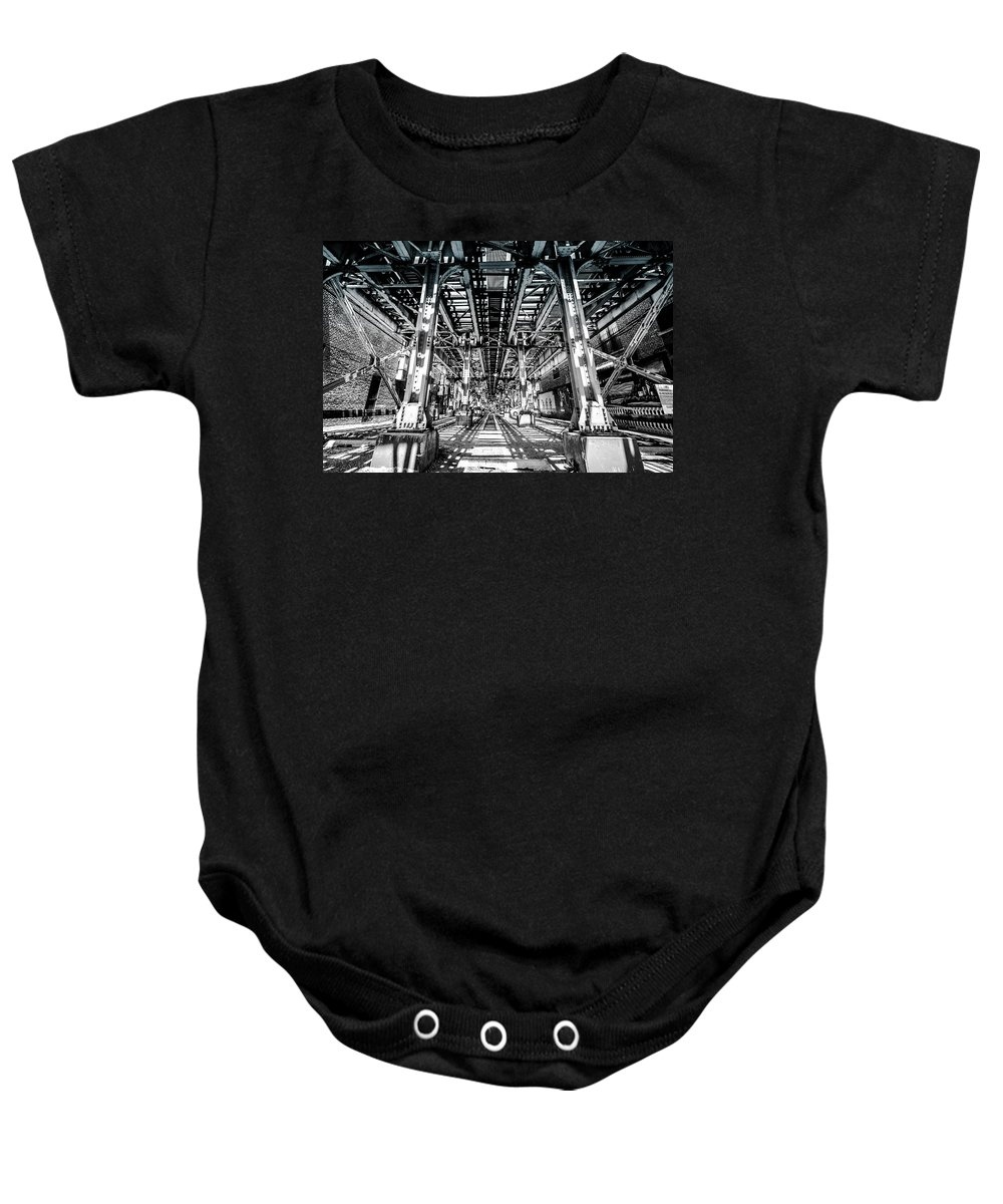 Chicago Baby Onesie featuring the photograph Maze Of Iron - Black And White by Anthony Doudt