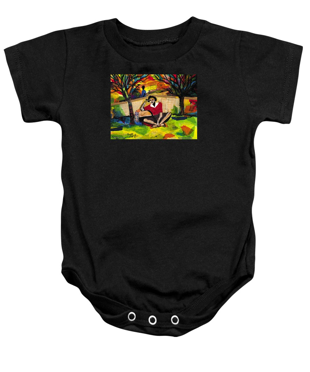 African American Baby Onesie featuring the painting Me And Mom by Everett Spruill