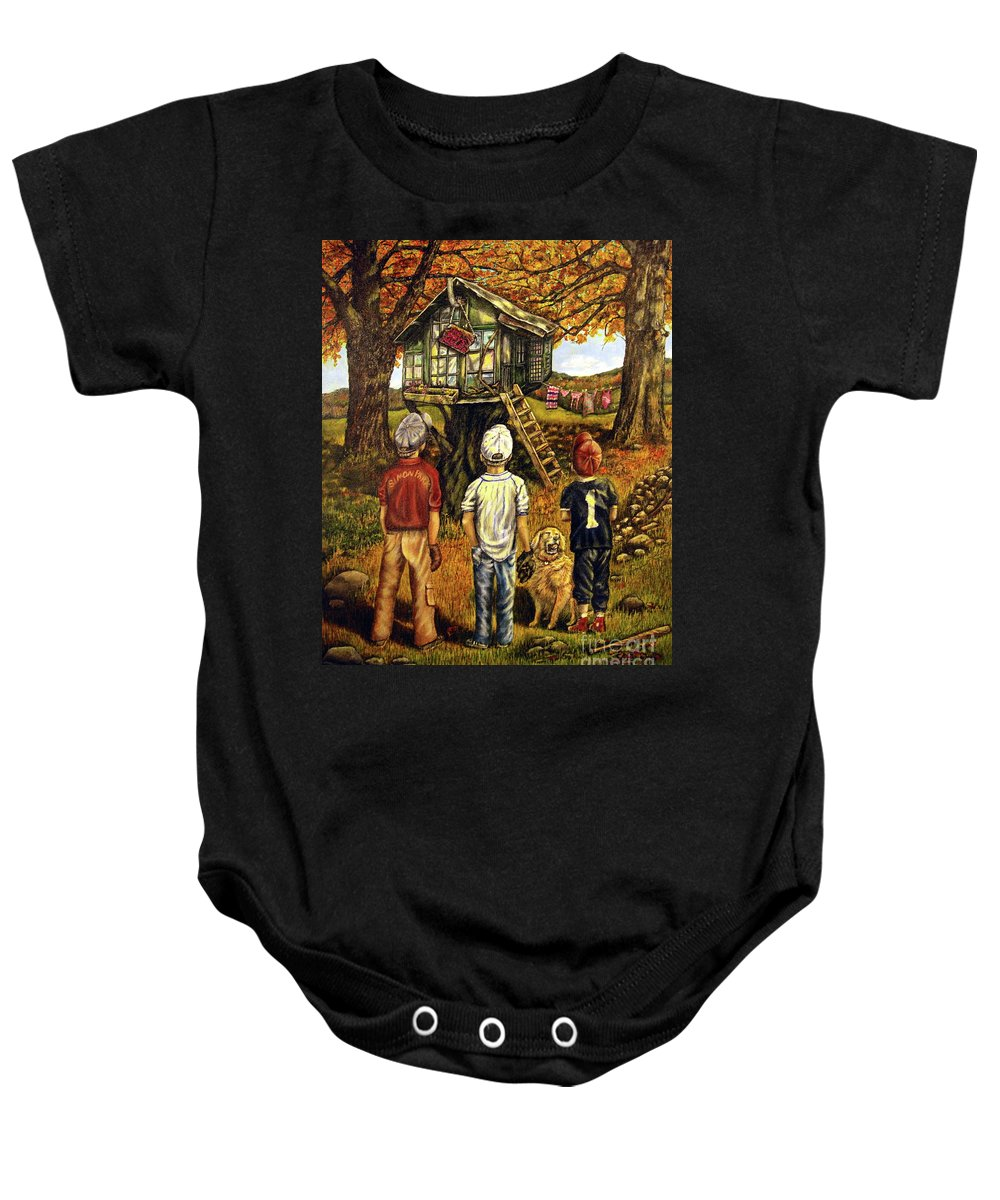 Trees Baby Onesie featuring the painting Meadow Haven by Linda Simon