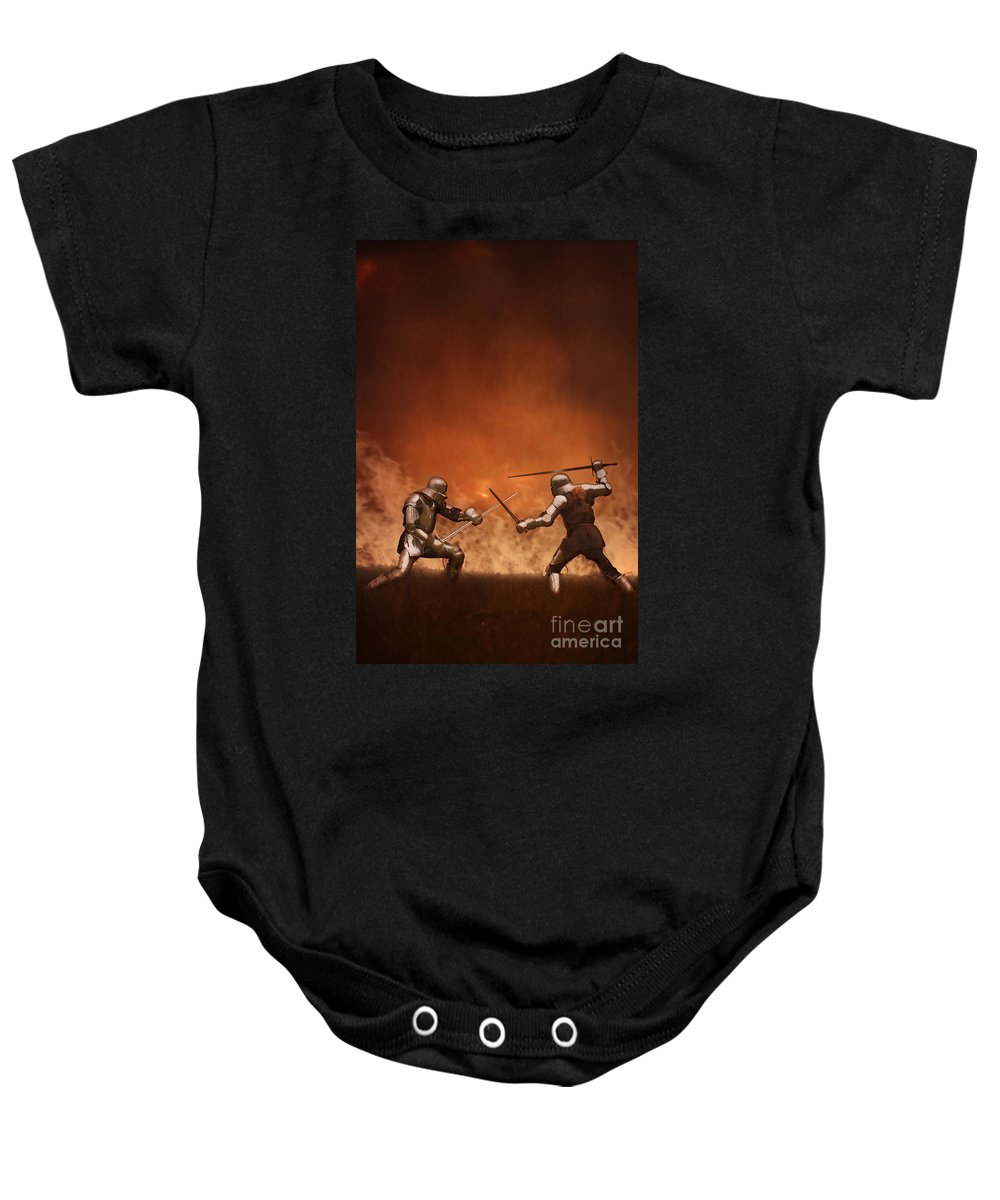 Knight Baby Onesie featuring the photograph Medieval Knights In Armour Fighting With Swords by Lee Avison