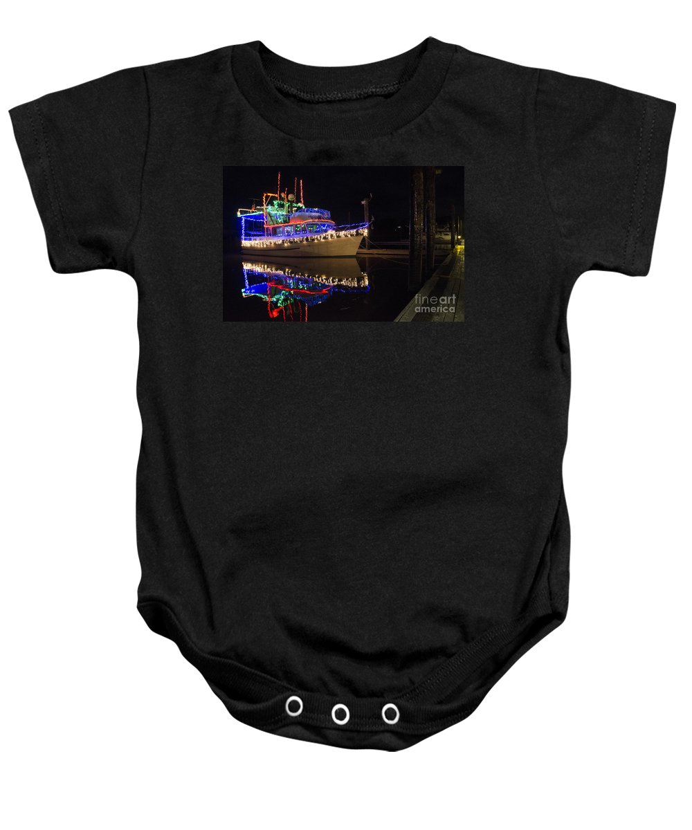 Boat Baby Onesie featuring the photograph Merry Christmas Bandon By The Sea 2 by Bob Christopher