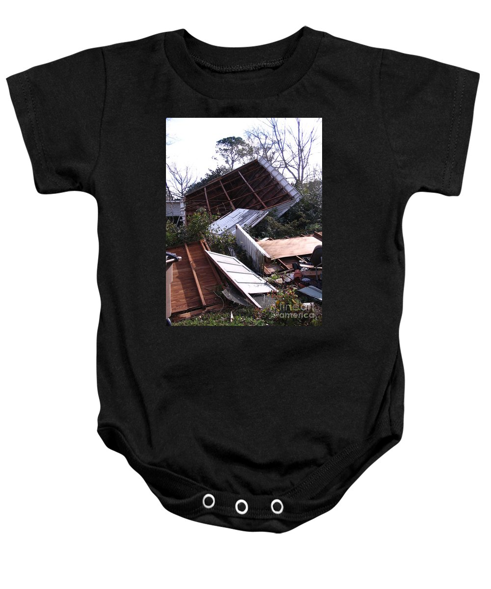 Photograph Baby Onesie featuring the photograph Merry Christmas From Mother Nature - I'm A Tornado by Marian Bell