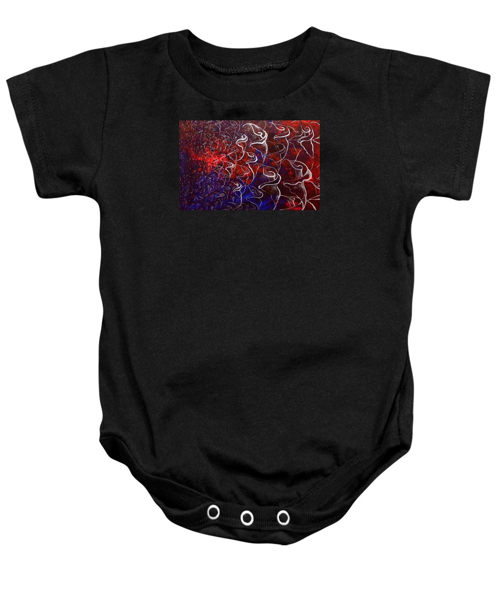 Calla Lilies Baby Onesie featuring the painting Metaphor 1 by Jean Walker