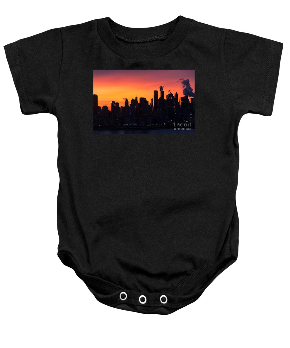 Architecture Baby Onesie featuring the photograph Metropolis Sunrise by Zina Zinchik