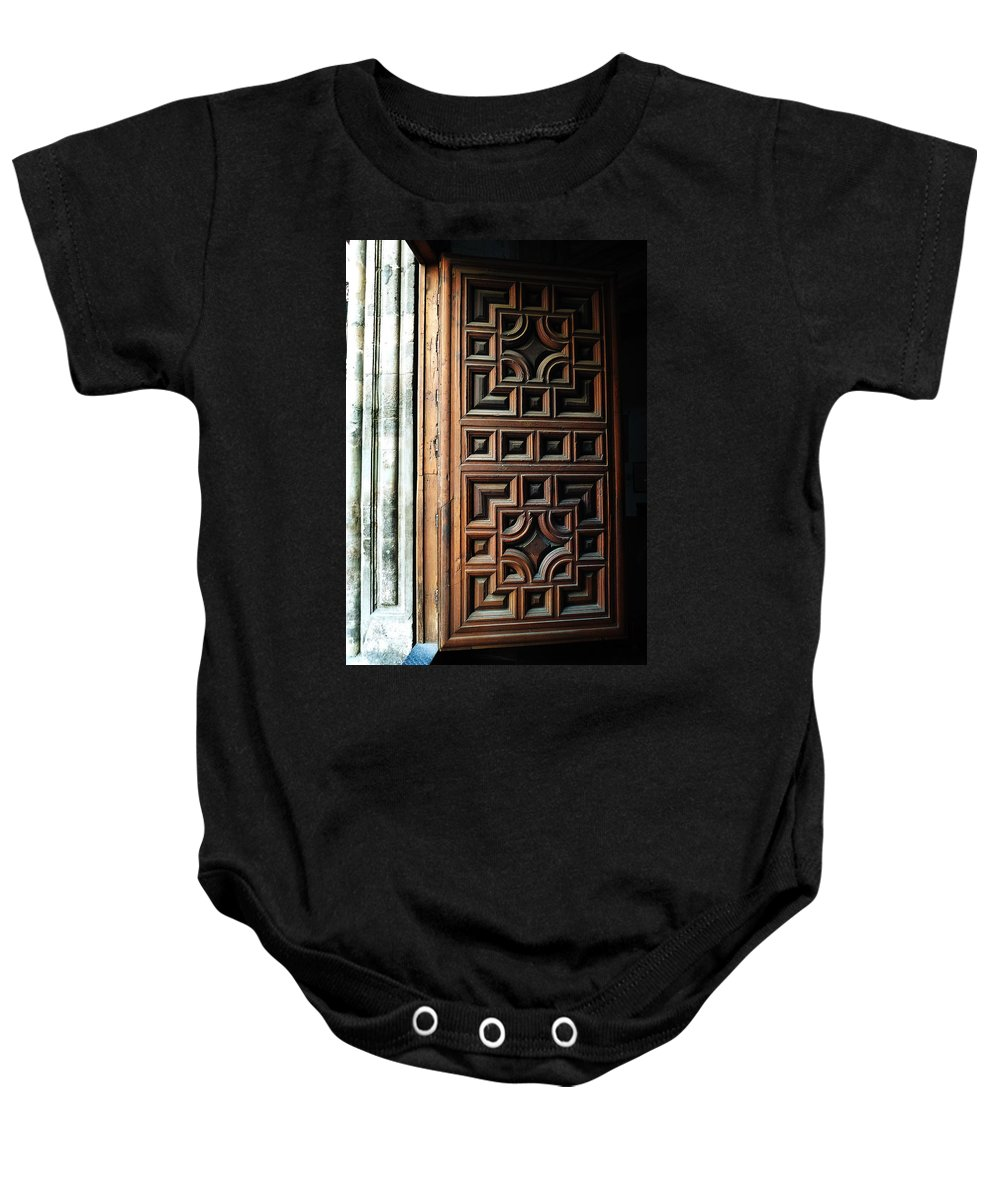 Ornament Baby Onesie featuring the photograph Mexican Door 64 by Xueling Zou