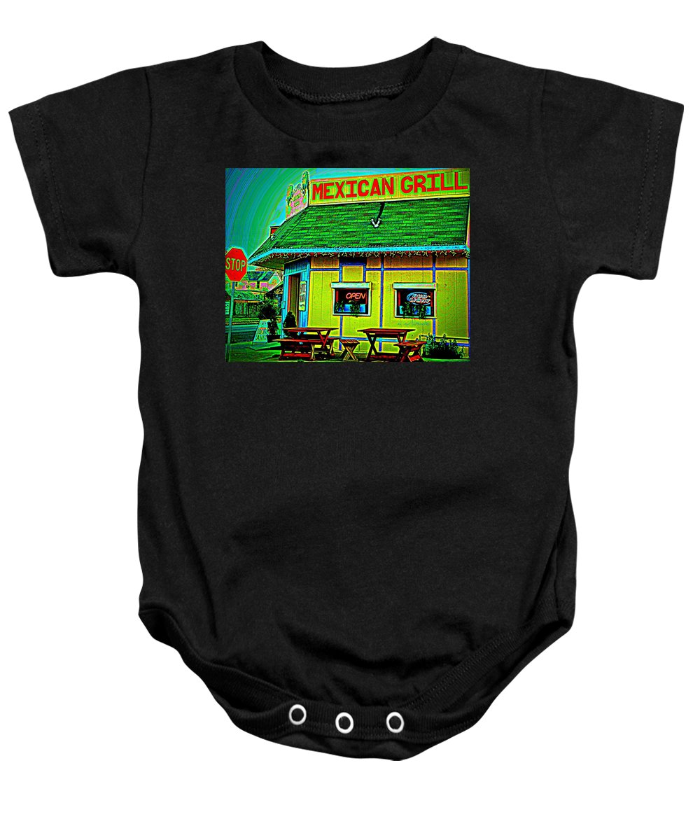 Restaurant Baby Onesie featuring the photograph Mexican Grill by Chris Berry