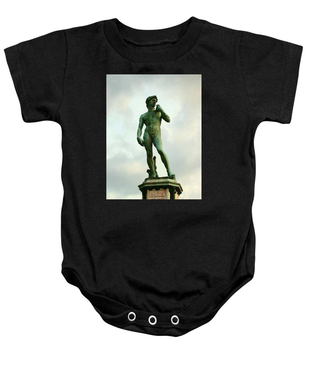 Michelangelos David Baby Onesie featuring the photograph Michelangelo's David 2 by Ellen Henneke