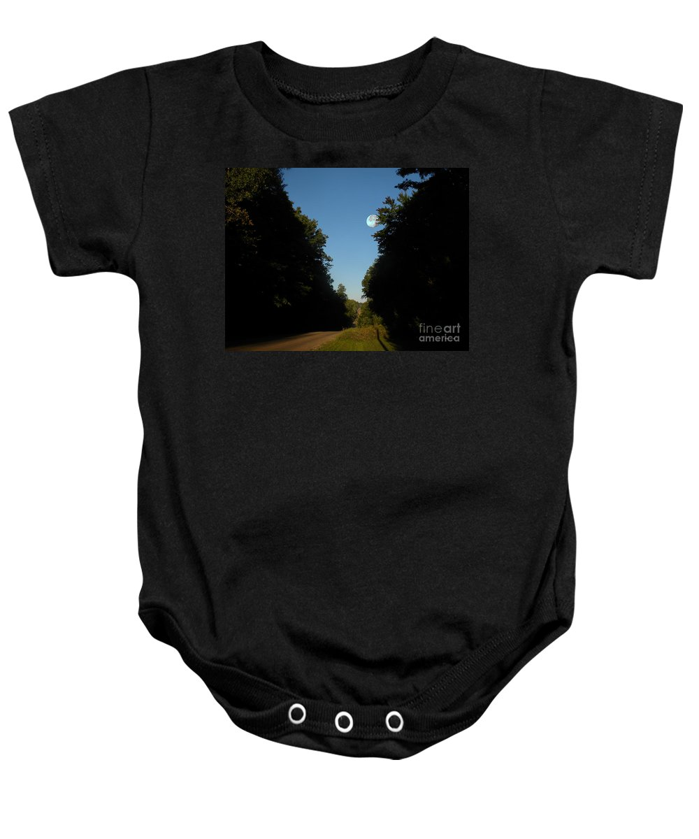 Summer Sunrise Baby Onesie featuring the photograph Michigan Country Road by Thomas Woolworth