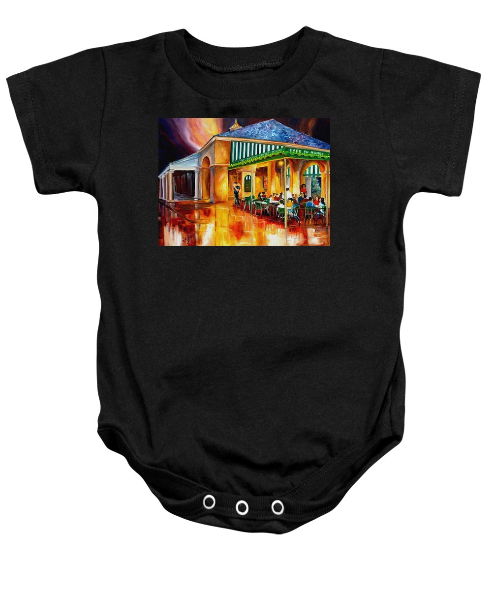 New Orleans Paintings Baby Onesie featuring the painting Midnight At The Cafe Du Monde by Diane Millsap
