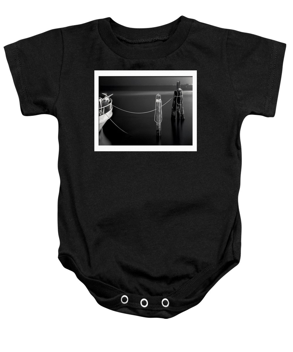 Black And White Baby Onesie featuring the photograph Midnight Calm by Eric Benjamin