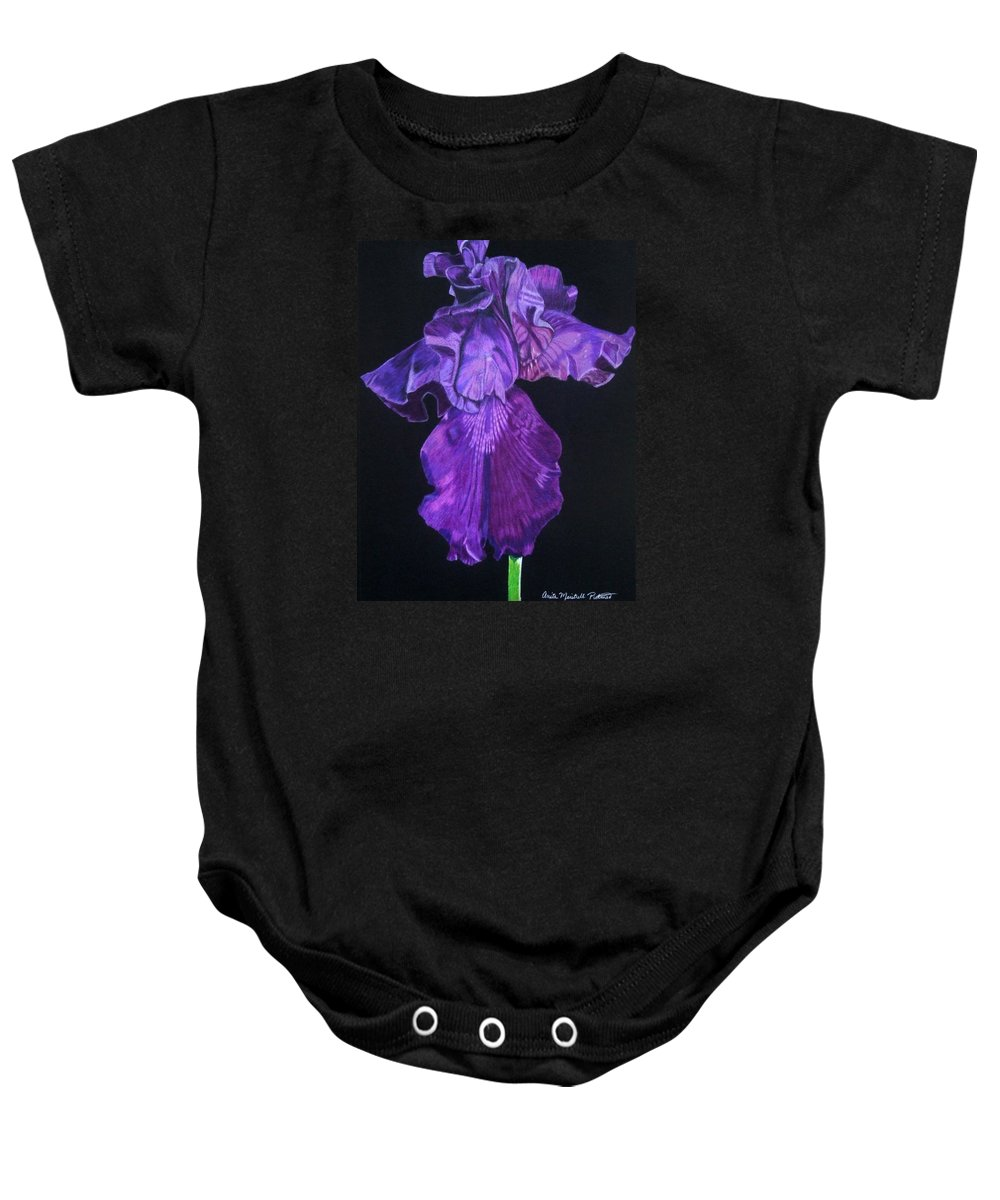 Iris Baby Onesie featuring the drawing Midnight Iris by Anita Putman