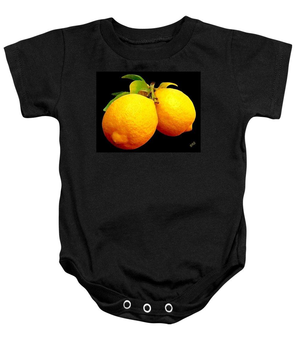 Fruit Baby Onesie featuring the photograph Midnight Lemons by Ben and Raisa Gertsberg