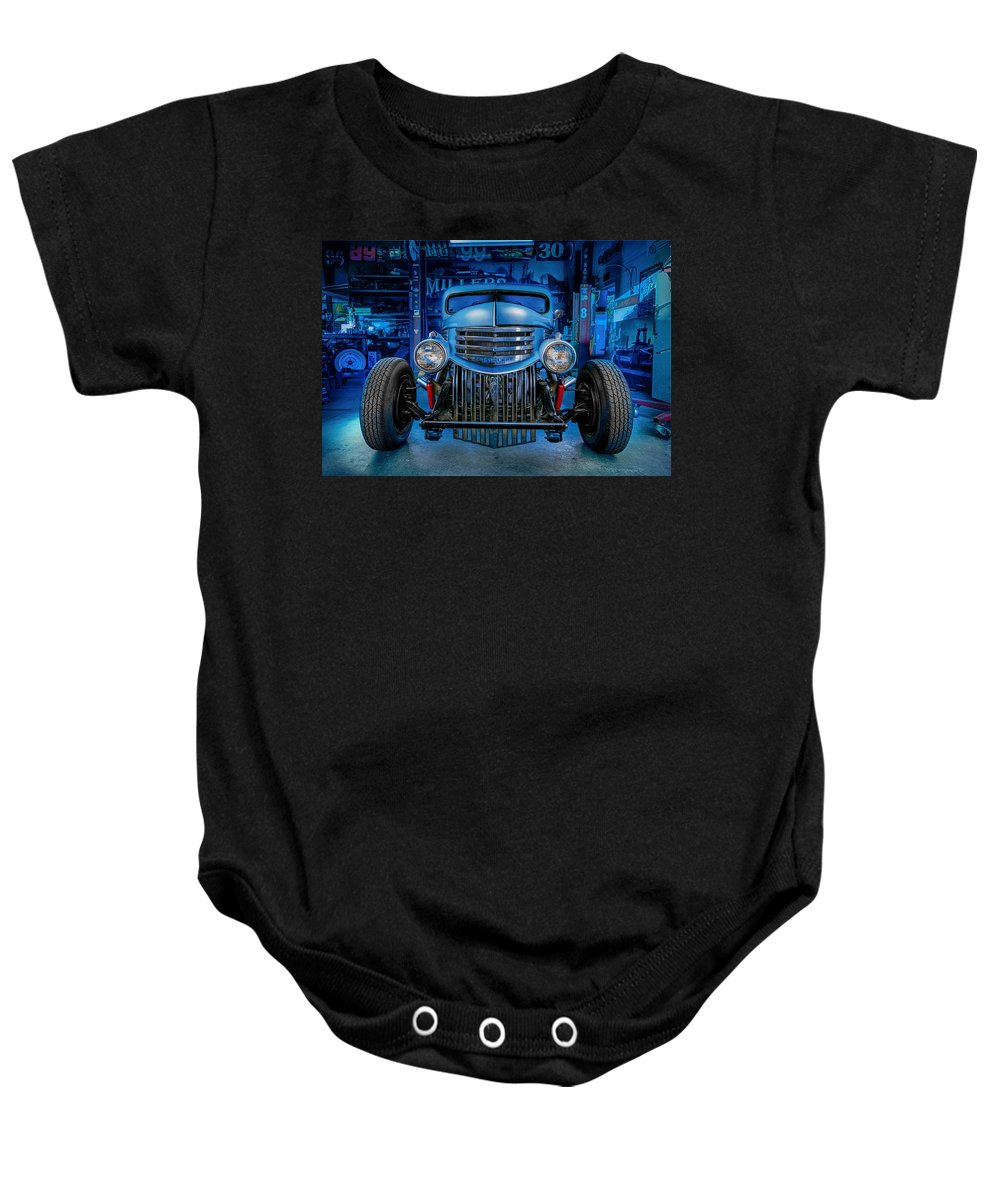Antique Baby Onesie featuring the photograph Millers Chop Shop 1946 Chevy Truck by Yo Pedro