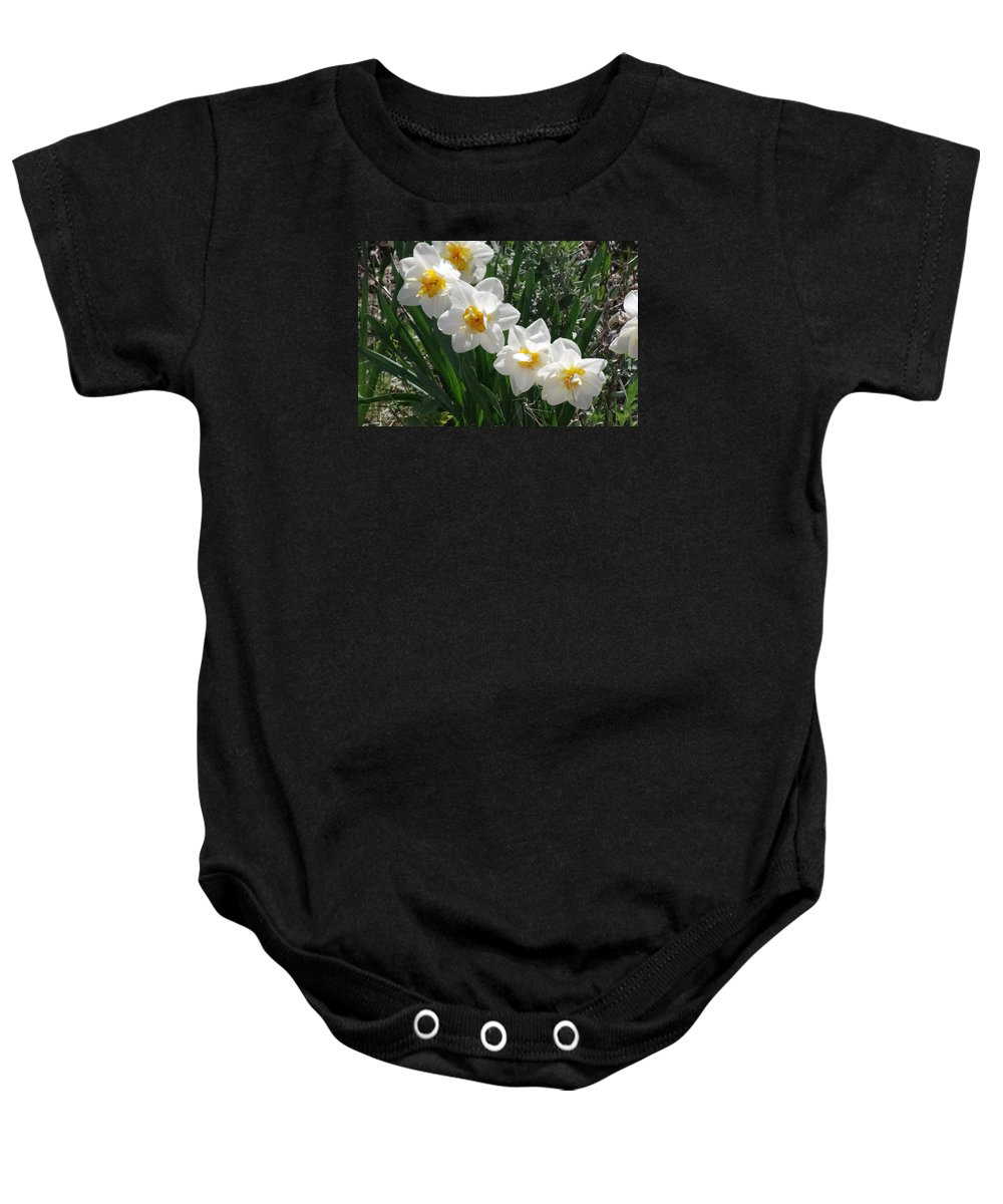 Flowers Baby Onesie featuring the photograph Miner's Wife Daffodils by Mike and Sharon Mathews