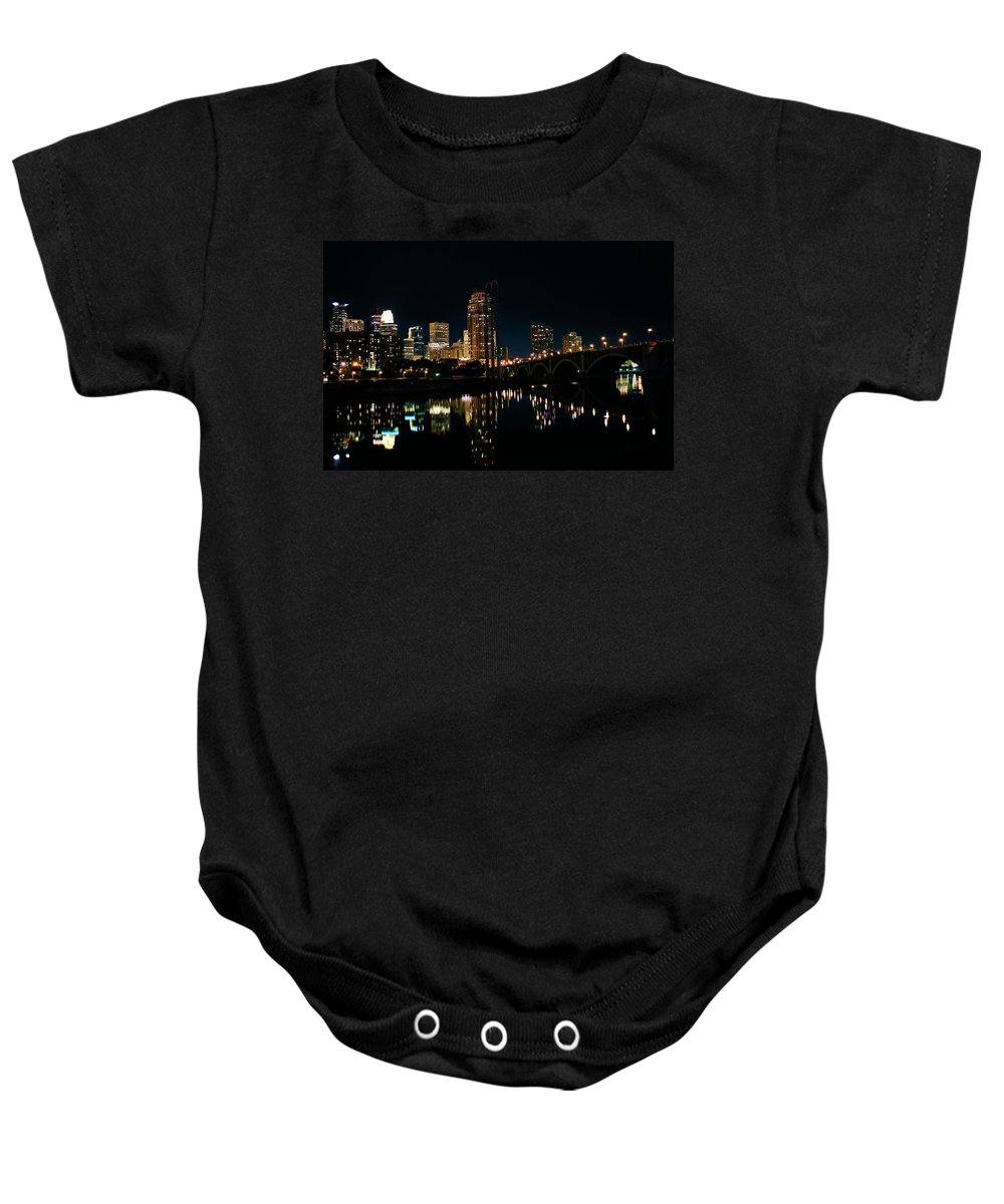 Iphone Case Baby Onesie featuring the photograph Minneapolis Night Skyline by Kristin Elmquist