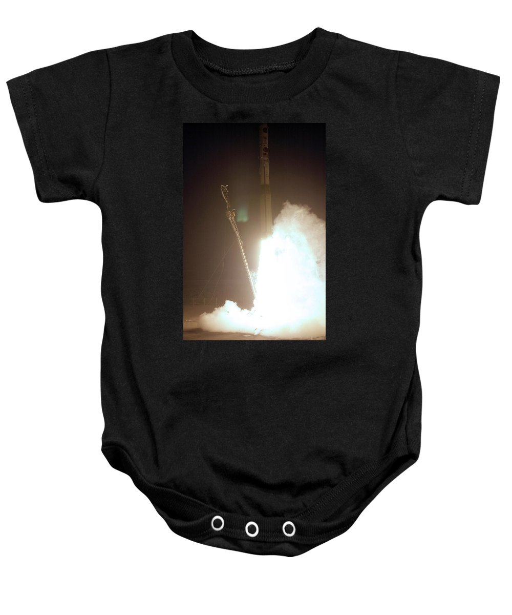 Astronomy Baby Onesie featuring the photograph Minotaur Rocket Launch by Science Source