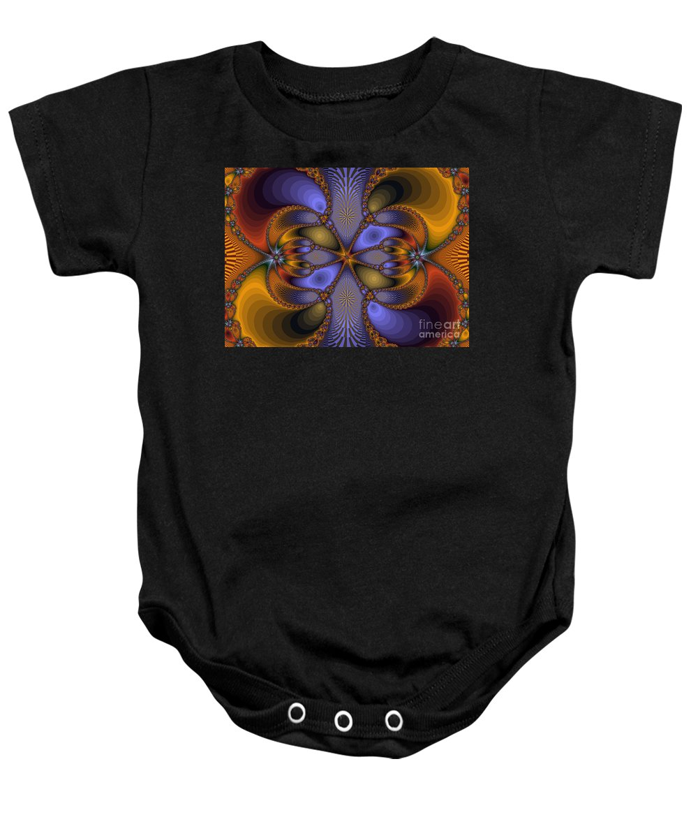 Fractal Baby Onesie featuring the photograph Mirror Butterfly by Darleen Stry