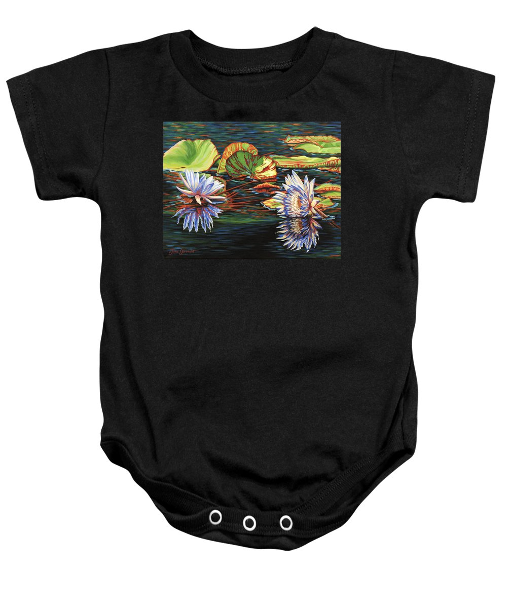 Lily Lilies Water Pond Pad Flower Flowers Floral Lake Baby Onesie featuring the painting Mirrored Lilies by Jane Girardot