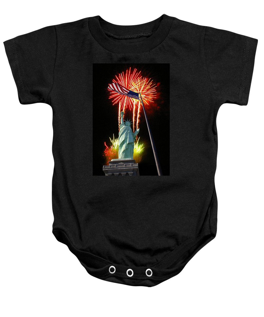 Patriotic Baby Onesie featuring the photograph Miss Liberty And Fireworks by Rich Walter